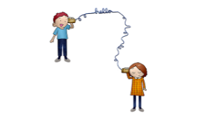 Boy and Girl with String and Cans