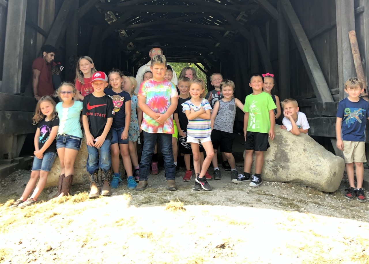 First Grade Students at the Covered Bridge