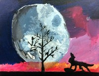 Quarter 1 Art 4 - Painting of a wolf howling at the moon