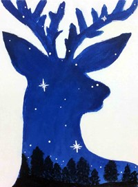 Quarter 1 Art 5 - Painting of the silhouette of a deer filled in with the forest and night sky