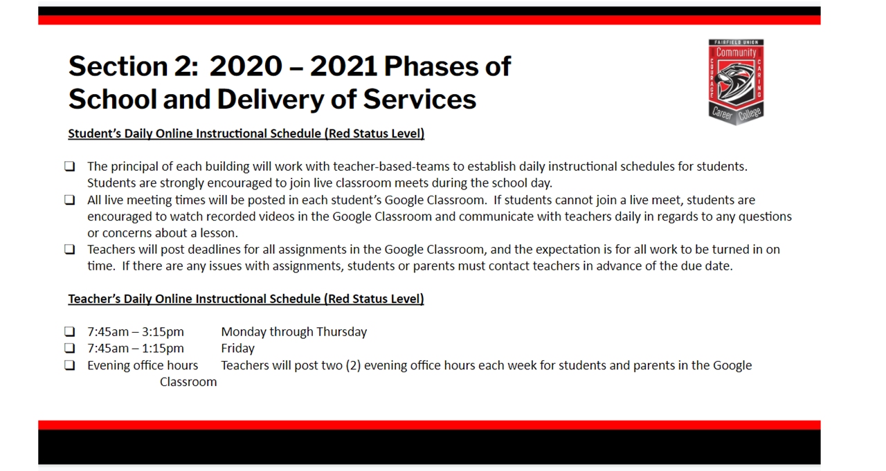 Phases of School and Delivery of Services