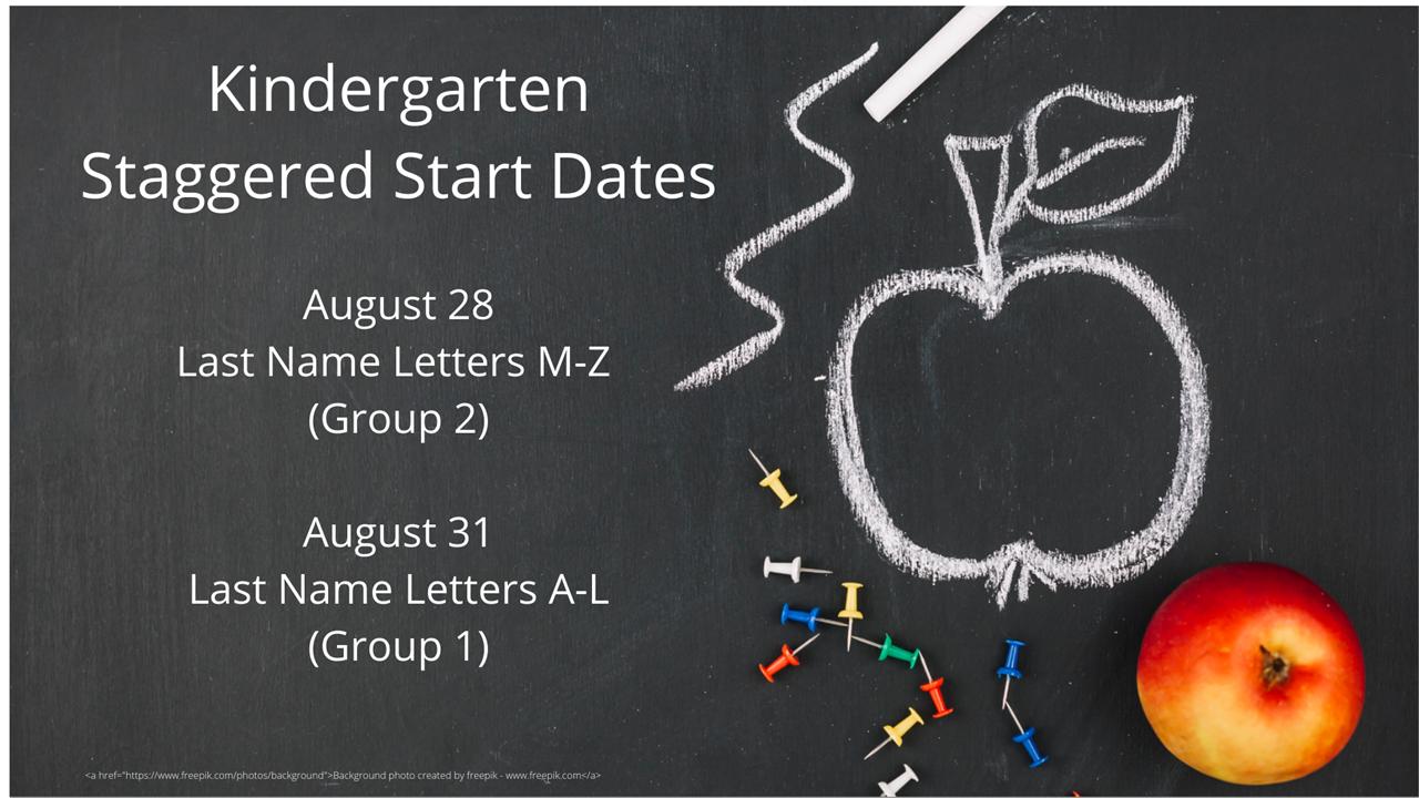 2020 Kindergarten Staggered Start Dates