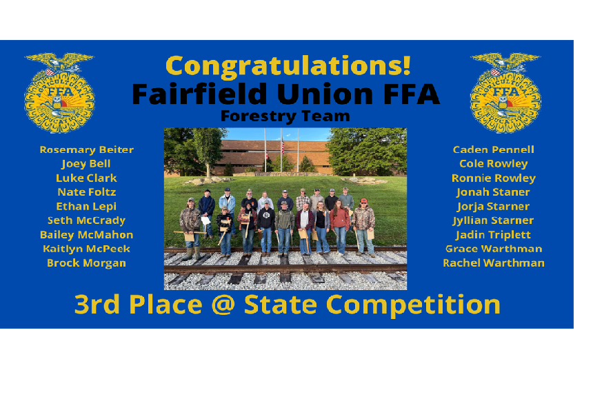 FFA Forestry Team Places 3rd at State competition