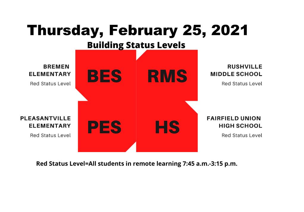 Red Level Status Thursday, February 25