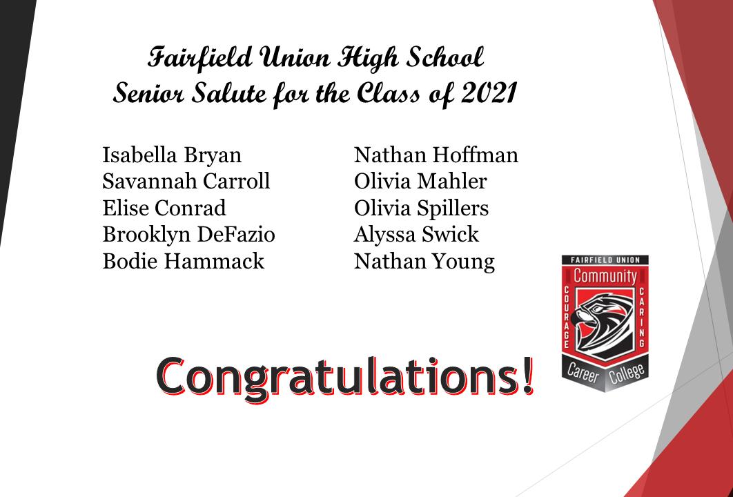 Senior Salute Honorees 2021