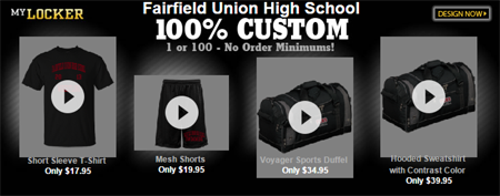 Fairfield Union High School 100% Custom Apparel ad